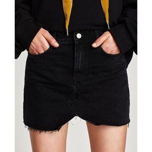 Zara Black Denim Mini Skirt
